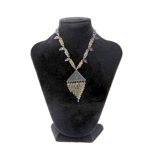 HANDICRAFT LONG NECKLACE WHITE METAL PENDENTS