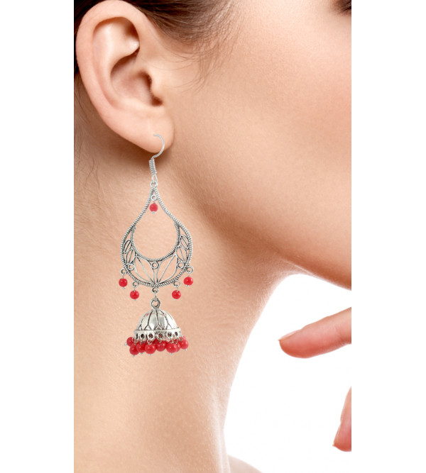 HANDICRAFT EARRING  WHITE METAL ASSORTED DESIGN  2 INCH