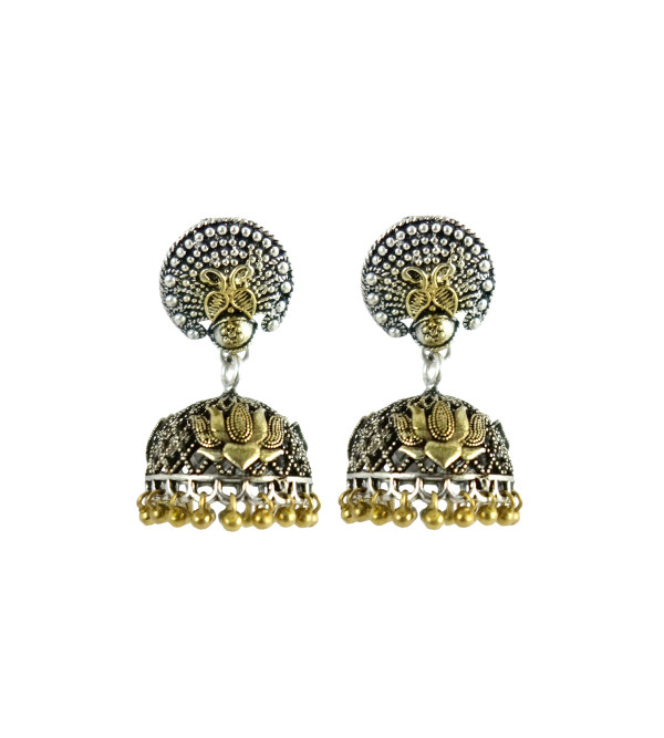 HANDICRAFT EARRING JHUMKI WHITE METAL ASSORTED DESIGN  2 INCH