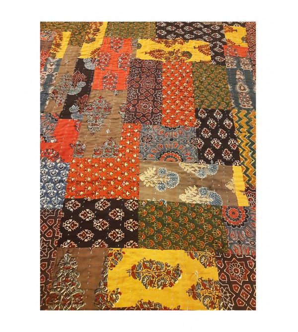 Applique Cotton Azrakh Bedcover Size 60x90 Inch