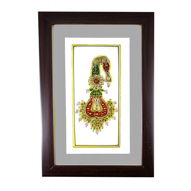 JEWELRY PAINTING FRAMED 4x4 Inch glass framed