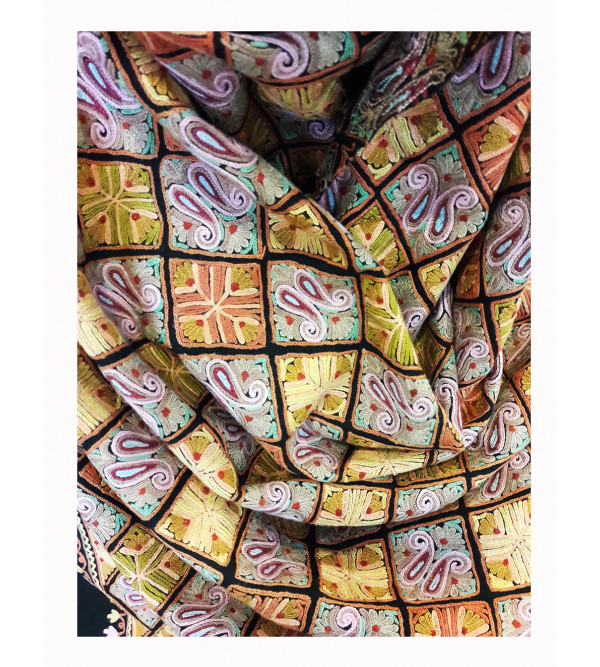 Ruffle Woolen Stole Hand Embroidered In Kashmir Size,28x80Inch