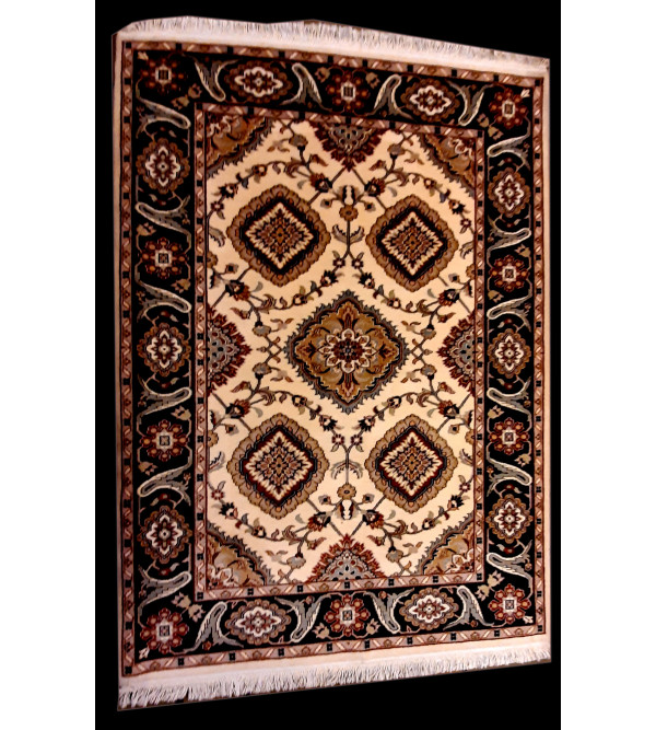 Jaipur  Woolen Hand Knotted carpet Size 7.4 ft x5.4 ft