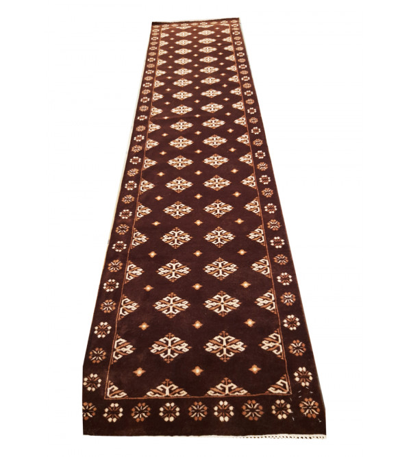 Jaipur  Woolen Hand Knotted carpet Size 2.5 ft x10 ft