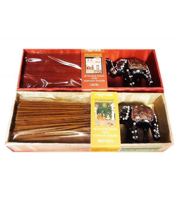 AGGARBATI WITH ELEPHANT STAND RAGMALA ELEPHANT HOLDER 40 STICKS RM112
