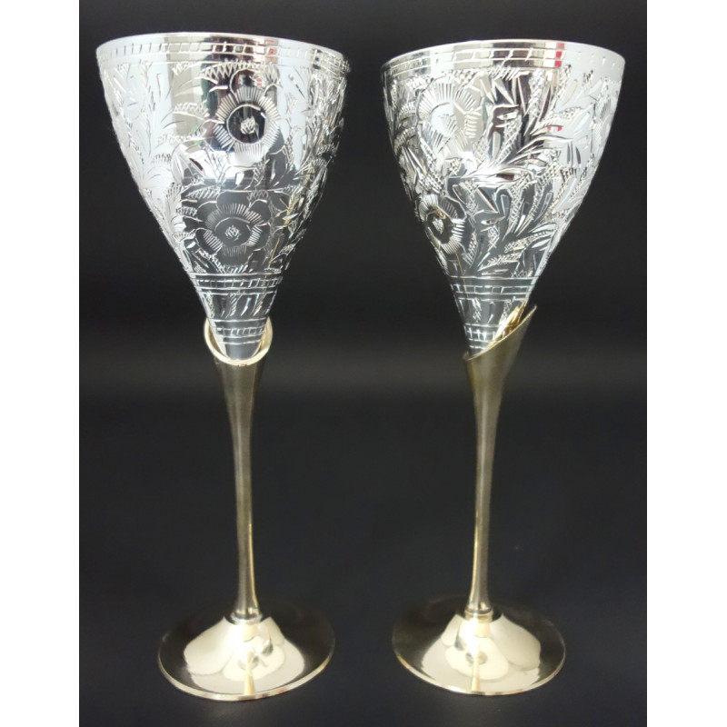 HANDICRAFT BRASS 2 PCS GOBLET SET SILVER PLATED