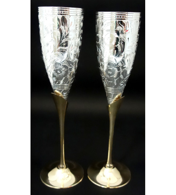 HANDICRAFT BRASS SILVER PLATED 4 PCS GOBLET SET