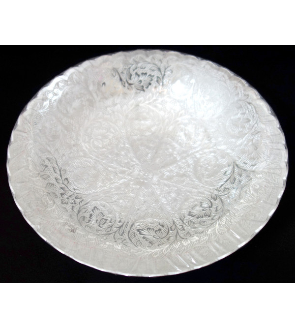 HANDICRAFT BOWL BRASS SILVER PLATED 5 INCH