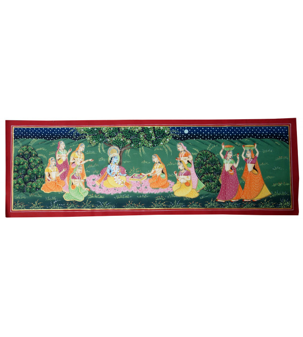 Handmade Pichwai Cotton Assorted Painting 12x36 Inch Without Frame