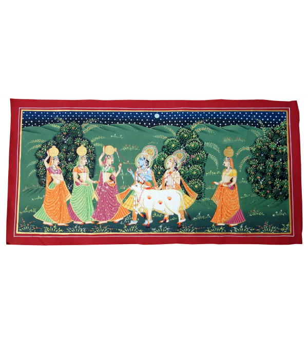 HANDICRAFT ASSORTED PICHWAI COTTON PAINTING 12X24 INCHES