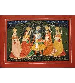 Traditional Radha Krishn Handmade Painting