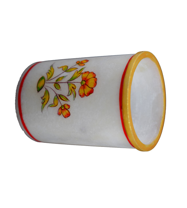 PEN STAND MARBLE INLAY   round