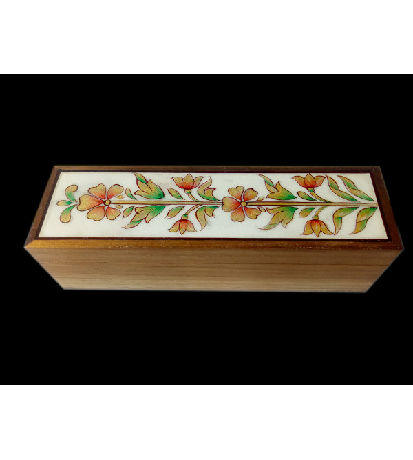Box Handcrafted In Teak Wood With Painting On Marble Top