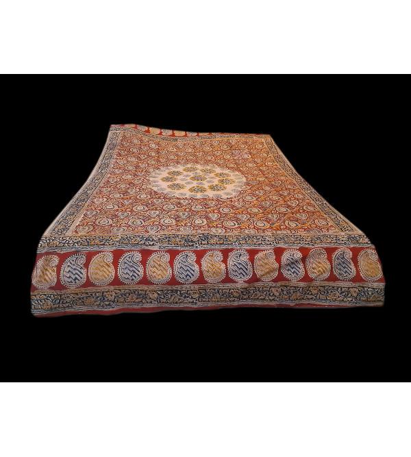 Cotton Kalamkari Block Printed Table Cover Size 36x36 Inch