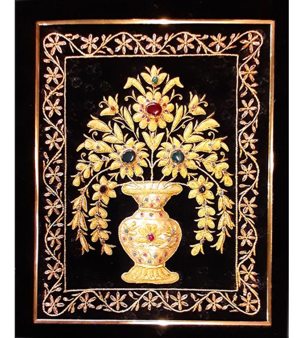 Zardozi Handmade Zari Carpet Size 12x15 Inch