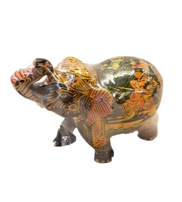 Kadamba wood Handcrafted and Hand painted Elephant with Shikara Design