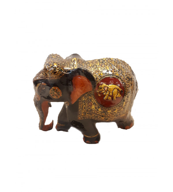 WOODEN EMBOSSED ELEPHANT PAINTED WW 4  INCH