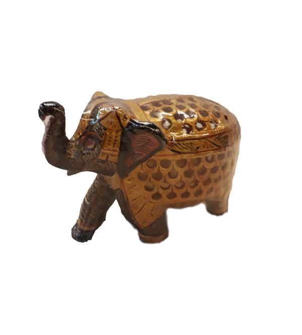 Kadamba Wood Handcrafted Carved Elephant with Undercut Design