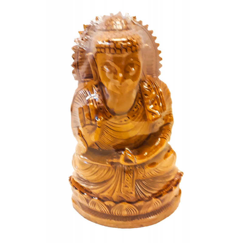 Kadamba Wood Handcrafted Carved Sitting Figure of Lord Buddha