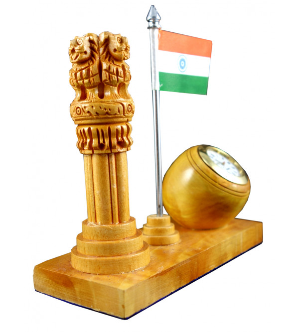 ASHOKA PILLAR WITH WATCH kadam wood