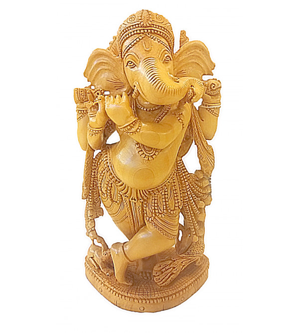 Kadamba Wood Handcrafted Carved Lord Ganesha Figure