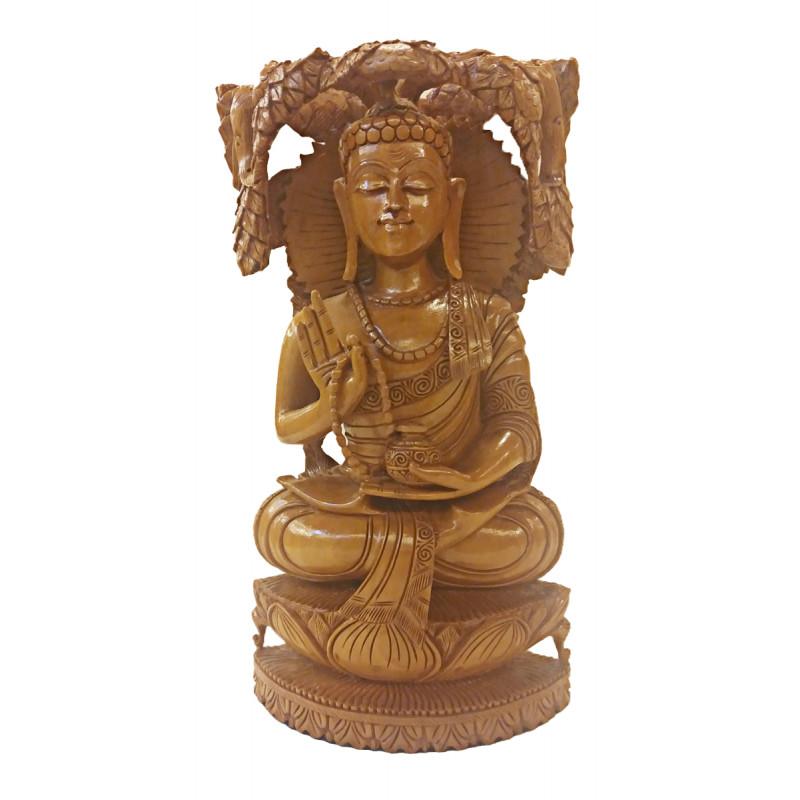 Kadamba Wood Handcrafted Carved Sitting Figure of Lord Buddha