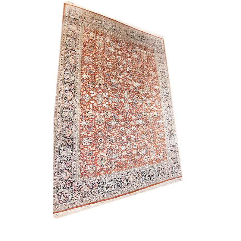 Kashmir Carpet Hand-knotted Silk x Cotton Size 6ftx9ft
