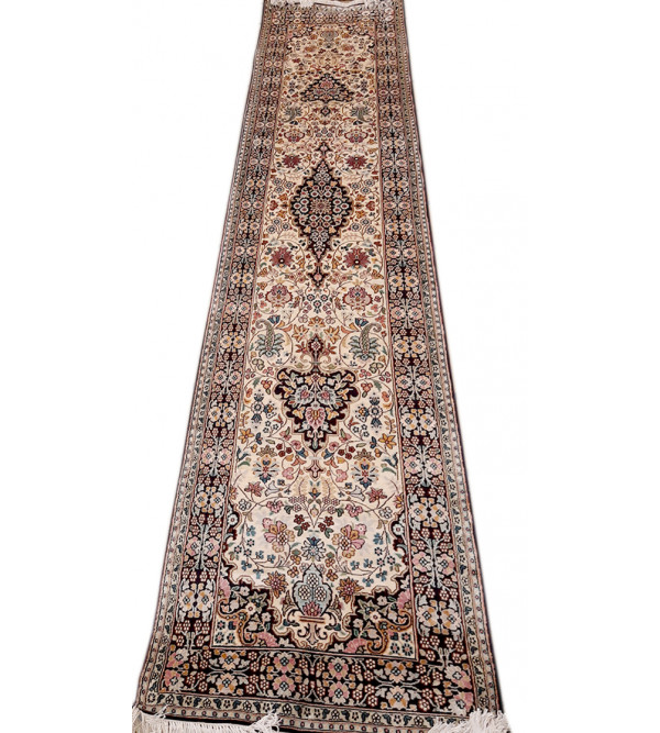 Kashmir Carpet Hand-knotted, silk/cotton, Size-2.6ftx10.3ft