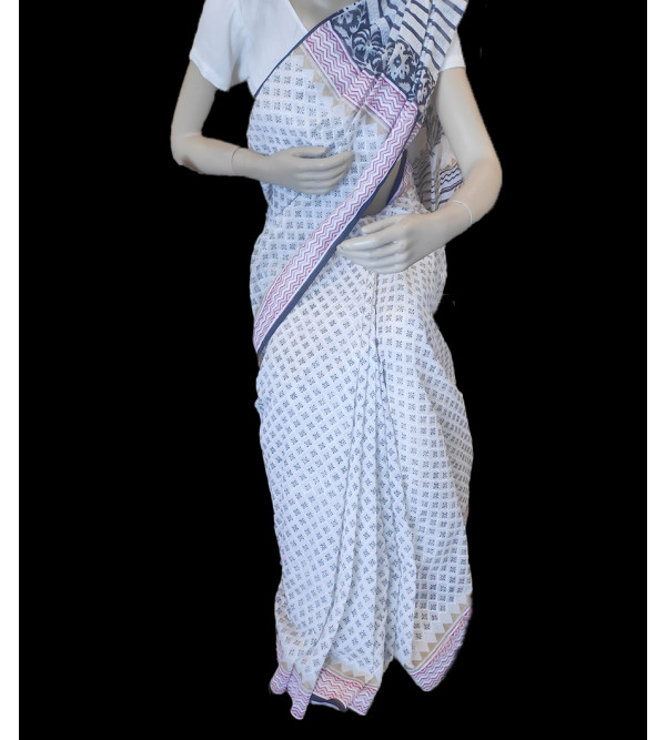 Chanderi Block Printed Saree With Blouse