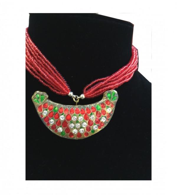 Enamelled Kundan Silver Necklace