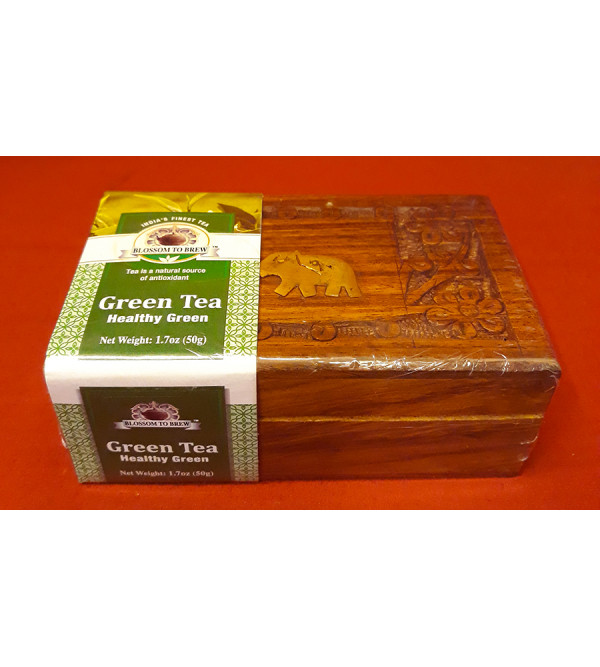Green Tea In Wooden Box 50gm