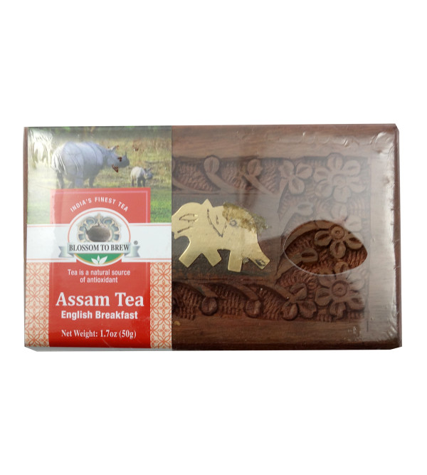 Assam English Breakfast Tea In Wooden Box 50gm