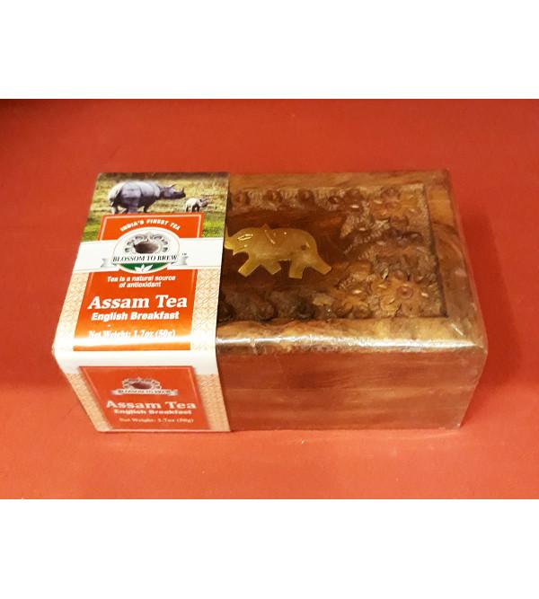 Assam English Breakfast Tea In Wooden Box 50gm
