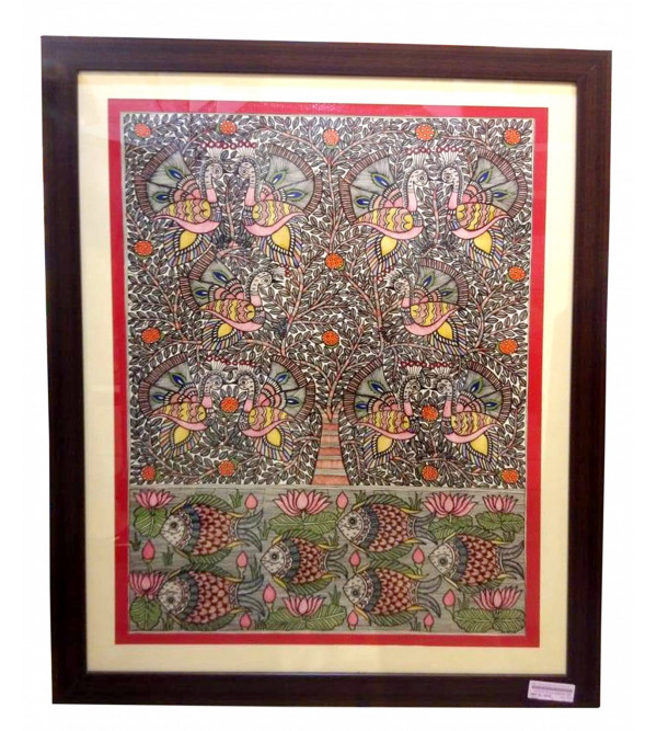 HANDICRAFT MADHUBANI PAINTING LOTUS PEACOCK 22X30 INCH
