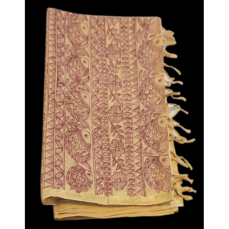 Handwoven Cotton Madhumbani Dupatta