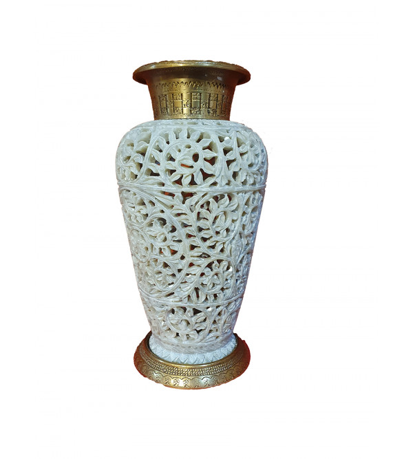 Soap stone jali Vase with brass 7 inch