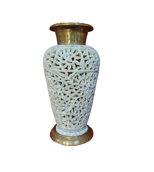 Soap stone jali Vase with brass 7 inch
