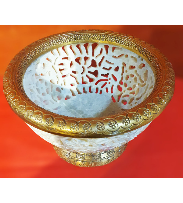 HANDICRAFT SOAP STONE JALI WORK BOWL 6INCH