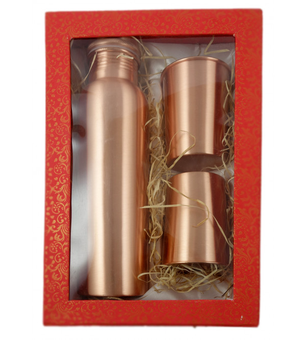 COPPER JUG 2PC GLASS SET  HAMMERRED IN CB BOX