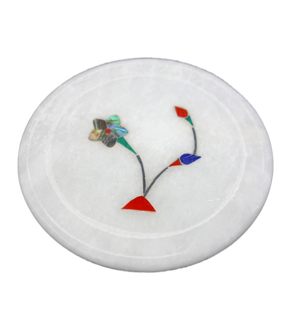 HANDICRAFT MARBLE ALABASTER COASTER 3X5 INCH ASSORTED