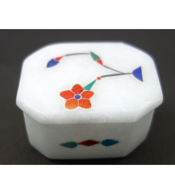 HANDICRAFT MARBLE ALABASTER BOX 2X2X5 INCH ASSORTED