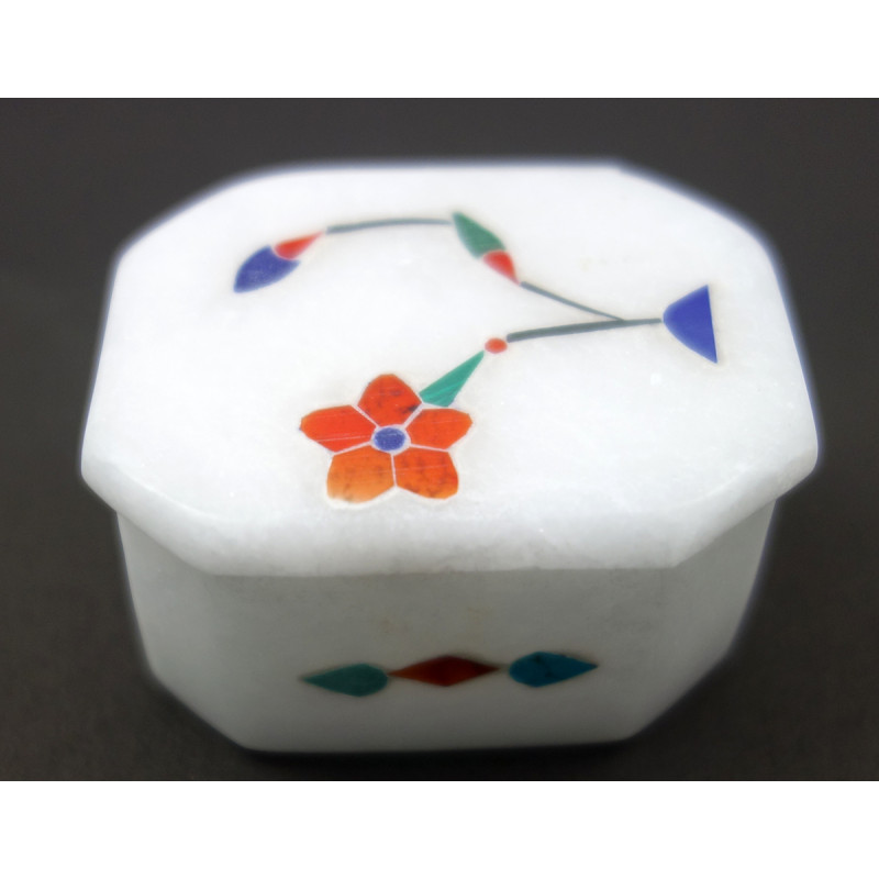 Handicraft Marble Box with Inlay Work Size 2x2x5 Inch