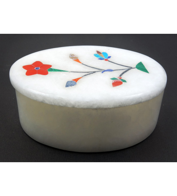 HANDICRAFT MARBLE ALABASTER BOX 3X2 INCH ASSORTED