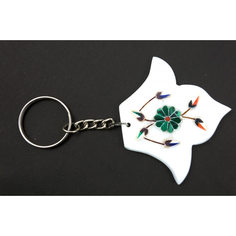 Handcrafted Marble Key Chain Assorted Size 2 Inch