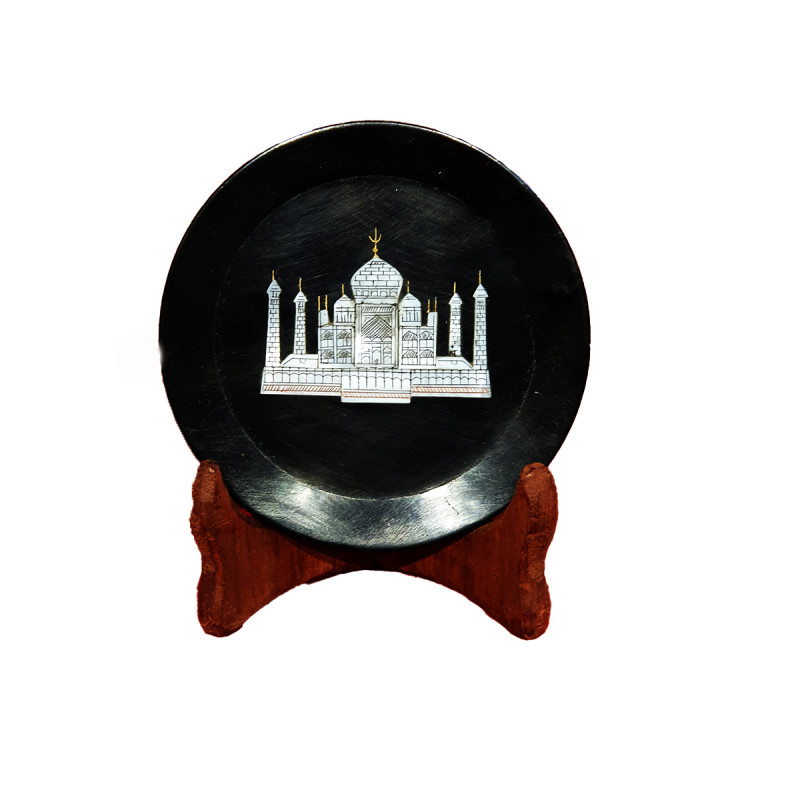 Black Marble Taj Plate Size 8 Inch
