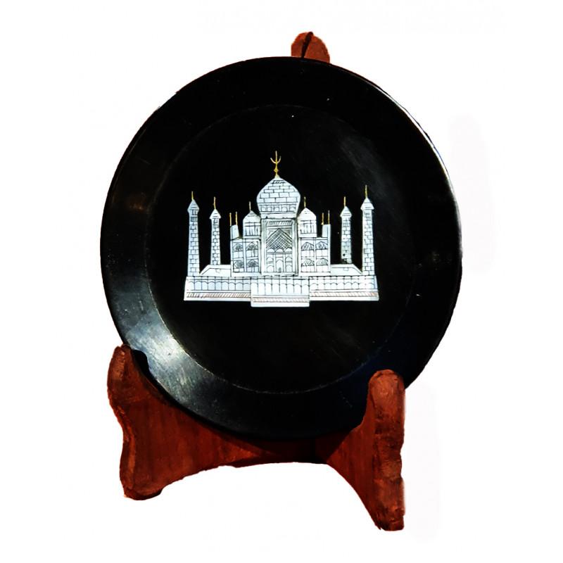 Black Marble Taj Plate Size 9 Inch