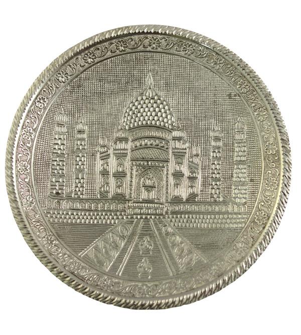 Handicrafted Brass Wall Silver Pate Taj Designs 8 Inch
