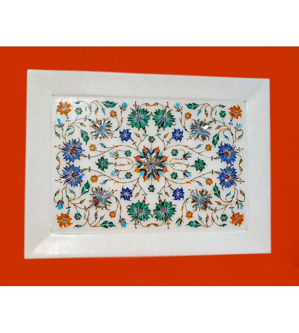 12x9 inch Marble plate with semi precious stone