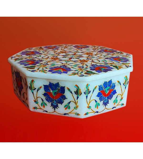 Marble Box With Semi Precious Stone Inlay Work Size 7x7 Inch