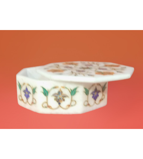Marble Box with semi precious stone inlay Size 5x5 inch